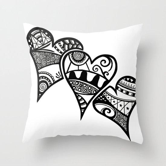 Three Hearts Throw Pillow