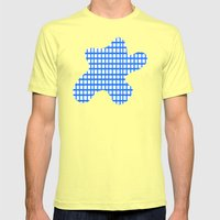 LINES In BLUE Mens Fitted Tee Lemon SMALL