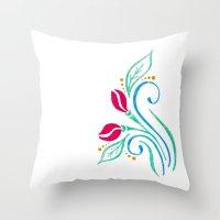 Abstract tulip motif Throw Pillow