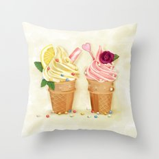 Ice Cream Illustration Throw Pillow
