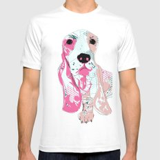 Basset Mens Fitted Tee White SMALL