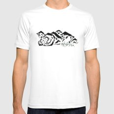 Sleepy Bear Mountain White Mens Fitted Tee SMALL