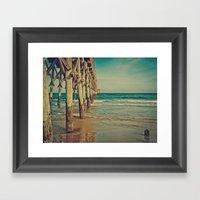 Fishing Pier Surf City B… Framed Art Print