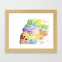 My Rainbow Totoro Framed Art Print