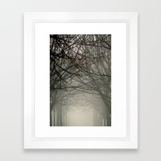 Branches meeting in the fog Framed Art Print