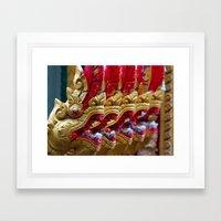 Temple Dragons Vientiane… Framed Art Print