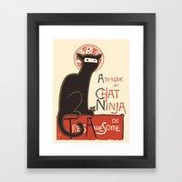 A French Ninja Cat (Le Chat Ninja) Framed Art Print