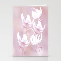 White lilies with pink background Stationery Cards