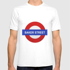 Sherlock Baker Street Print Mens Fitted Tee SMALL White