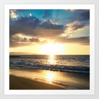 Po'olenalena Beach Sunset Makena Maui Hawaii Art Print