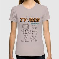 Tv Man Vs Himself Womens Fitted Tee Cinder SMALL