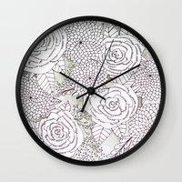 Floral Doodles in Gray Wall Clock