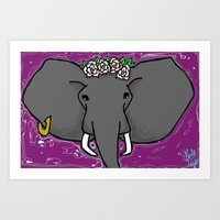 A Purple Elephant Art Print