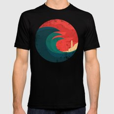 The wild ocean SMALL Black Mens Fitted Tee