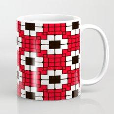 Retro Mosaic Red & Black Mug