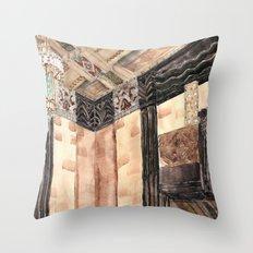 inside the Art Deco spaceship Throw Pillow