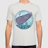 Eggplant Whale Mens Fitted Tee Silver SMALL