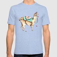 Watercolor Llama Mens Fitted Tee Tri-Blue SMALL