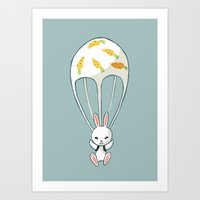Parachute Bunny Art Print
