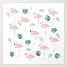 Hand painted pastel  pink flamingo tropical leaf watercolor pattern Art Print