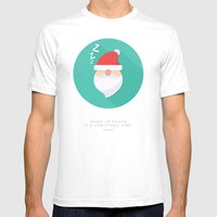 Wake up Santa Mens Fitted Tee White SMALL
