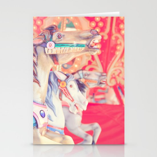 Pink Carousel Horse Stationery Card