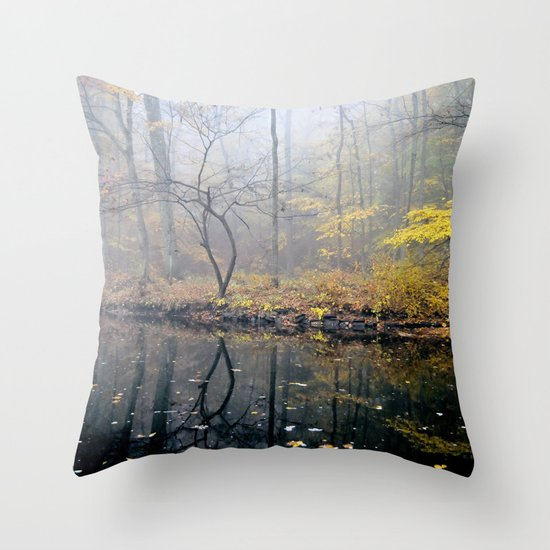 mist on the river Throw Pillow
