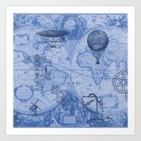 Steampunks in Blue Art Print