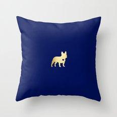 French Bulldog Gold Throw Pillow