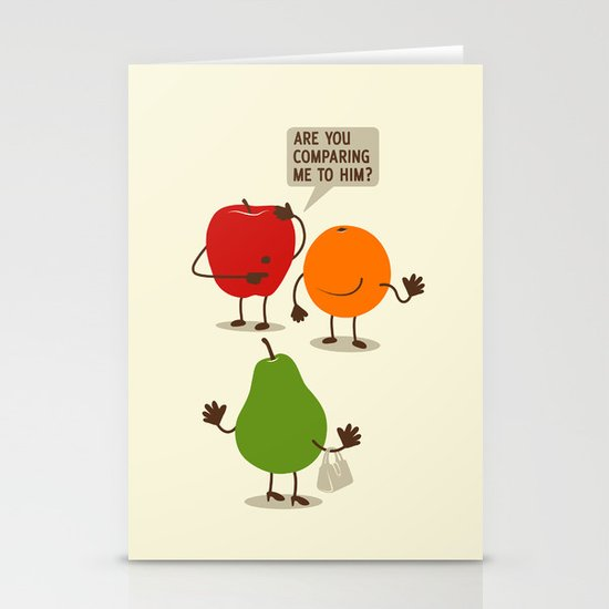 Like Apples and Oranges Stationery Card