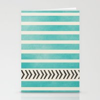 TEAL STRIPES AND ARROWS Stationery Cards