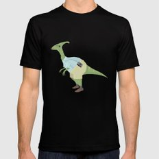 Hipster Dinosaur jams to some indie tunes on his walkman Mens Fitted Tee Black SMALL