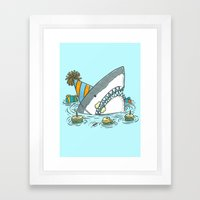 Birthday Shark II Framed Art Print