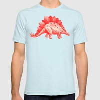 Red Stegosaurus  Mens Fitted Tee Light Blue SMALL