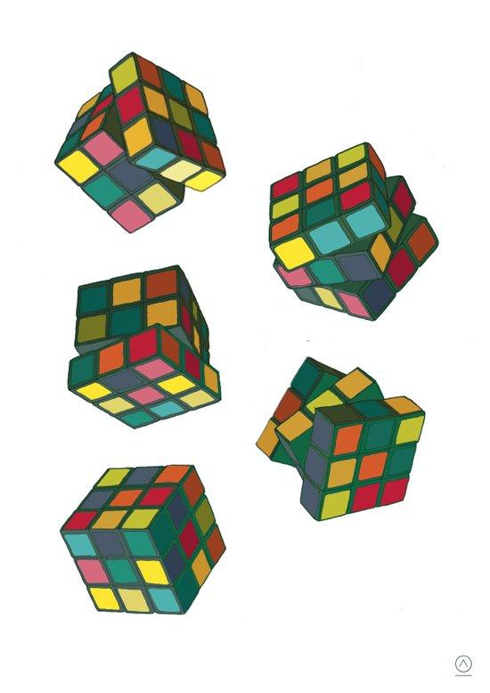 Rubik's Cubes Art Print