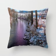 Quiet River In Winter Ti… Throw Pillow