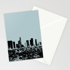 Downtown Los Angeles Skyline - Stamp Pattern on Light Blue Stationery Cards