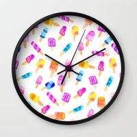 Modern watercolor bright hand paint summer ice cream pattern Wall Clock