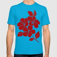 Hibiscus Animal RED IVORY Mens Fitted Tee Teal SMALL