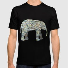 Elephant Paper Collage in Gray, Aqua and Seafoam Mens Fitted Tee SMALL Black
