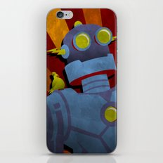 Retro Robot with Yellow Bird iPhone & iPod Skin