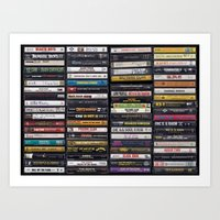 Old 80's & 90's Hip Hop Tapes Art Print
