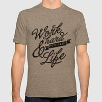 Work Hard Mens Fitted Tee Tri-Coffee SMALL