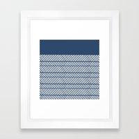 Herringbone Boarder Navy Framed Art Print