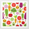 Veggie friends and smiley food Art Print