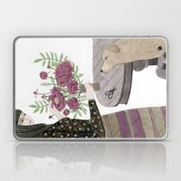 Girl, her Dog and bouquet of Flowers Laptop & iPad Skin