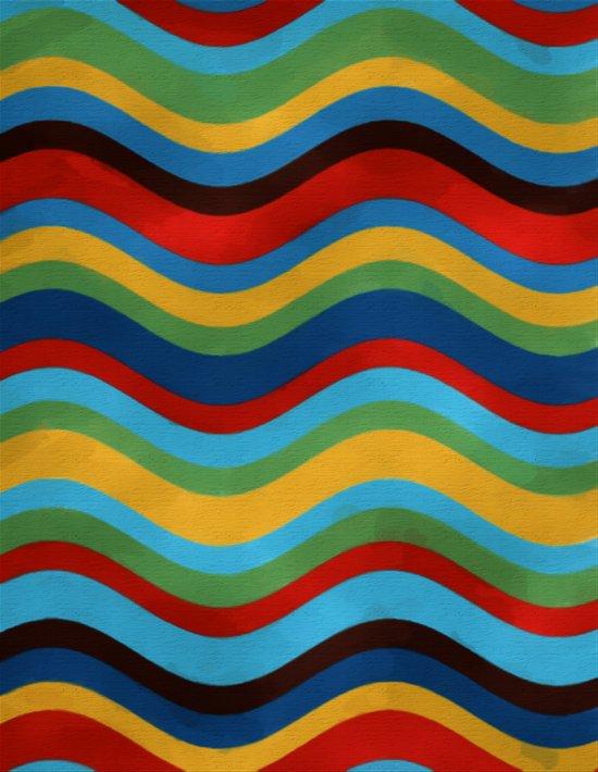 Colored Wavy Stripes Art Print