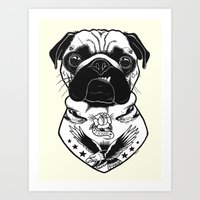 Dog - Tattooed Pug Art Print