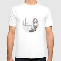 closed eyes - woman dotwork portrait Mens Fitted Tee White SMALL