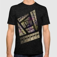Abstract Mixed Media Design Mens Fitted Tee Tri-Black SMALL